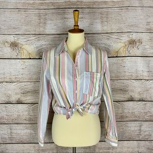 Forever 21 Cropped Pastel Striped Pocket Button-Up